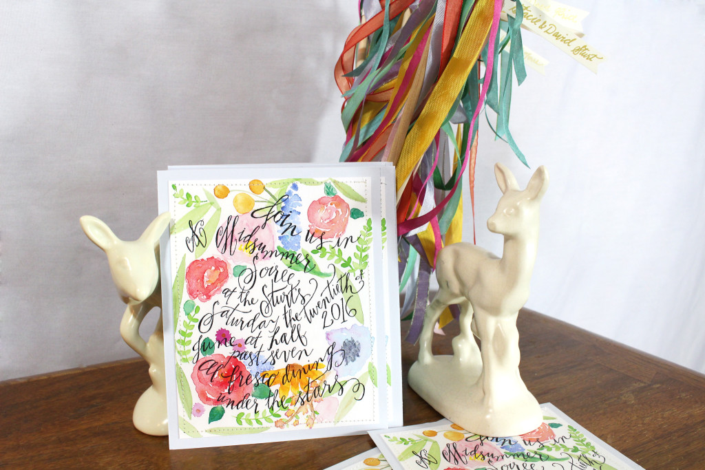 Midsummer Dinner Party - Invitation and personalized maypoles by Aimee Ferre