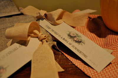Fill a burlap bag and fill it with shared abundance from guests