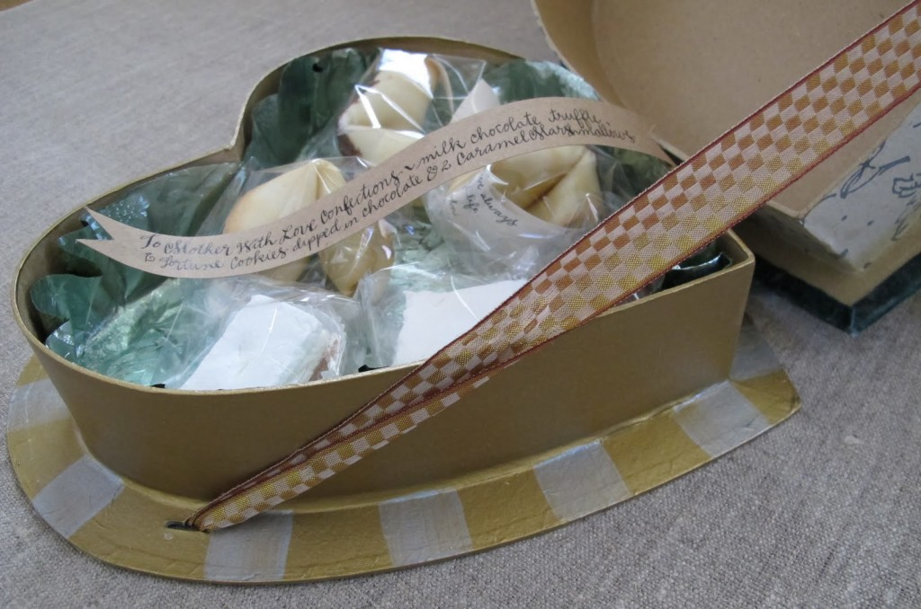 Handmade Velvet Heart Box full of homemade treats