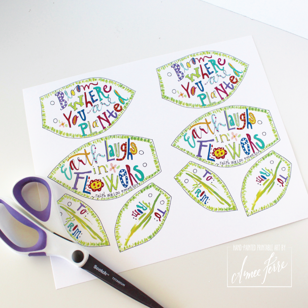 Free Paper Flower Leaf Printable - Bloom Where you are planted & Earth laughs in flowers