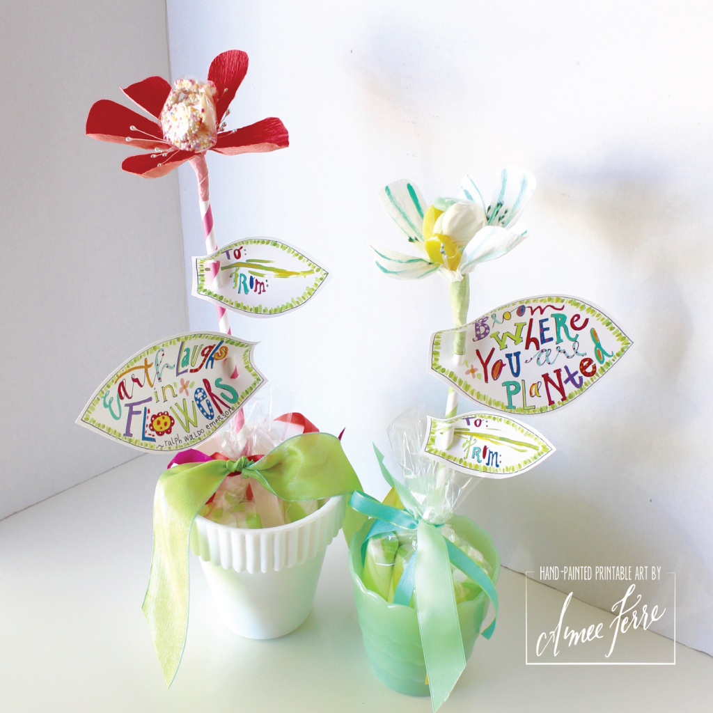 Free Paper Flower Leaf Printable for Candy Centered Paper Flowers