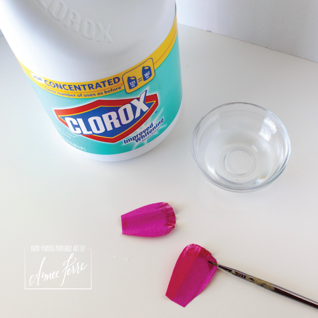DIY Bleach Crepe Paper Flower Petal
