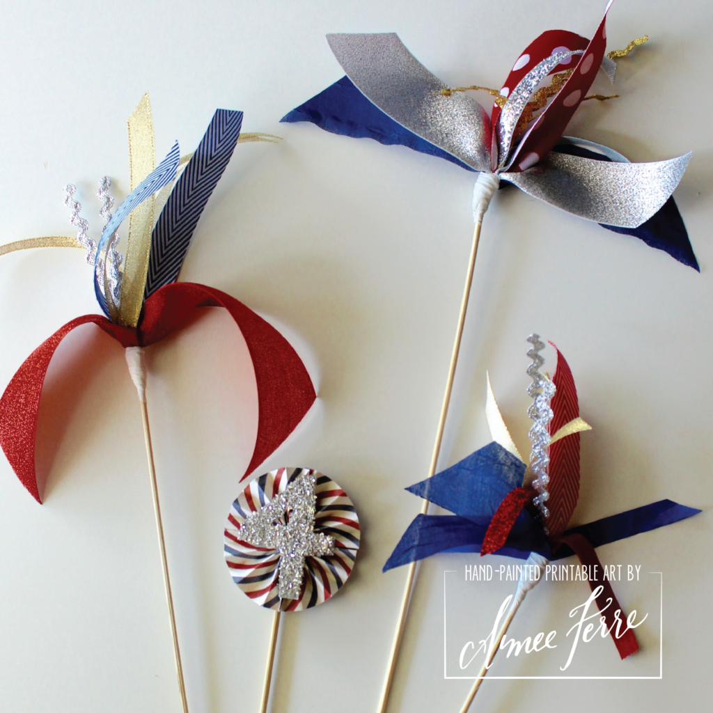 DIY Patriotic Ribbon Fireworks Centerpiece