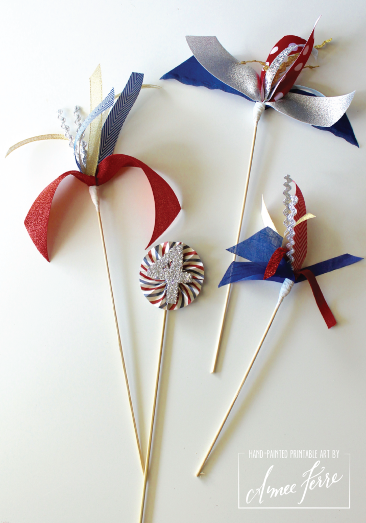 Patriotic Ribbon Firework Centerpiece Tutorial
