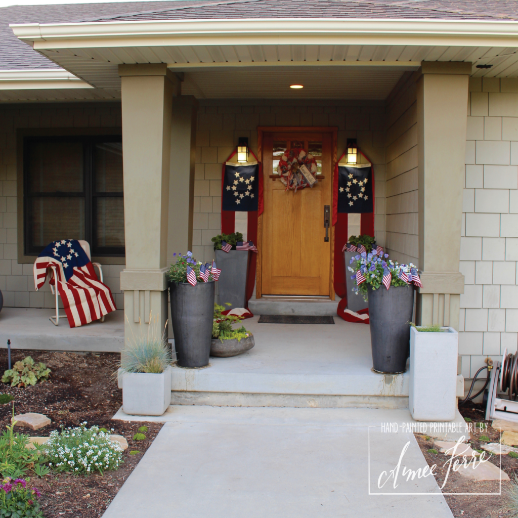 Passion for Americana Patriotic Porch Decor using Flags and Banners
