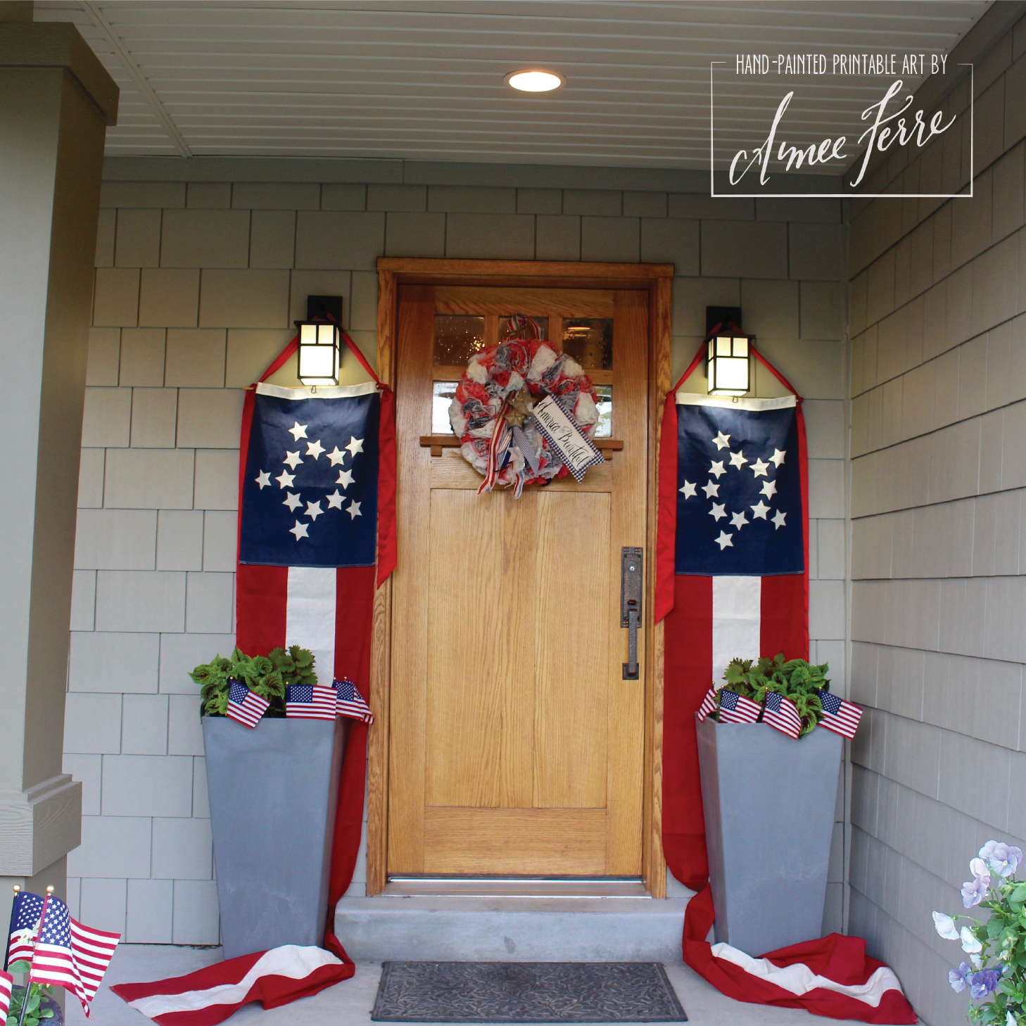 Americana patriotic porch decor and flags for Americana decoration