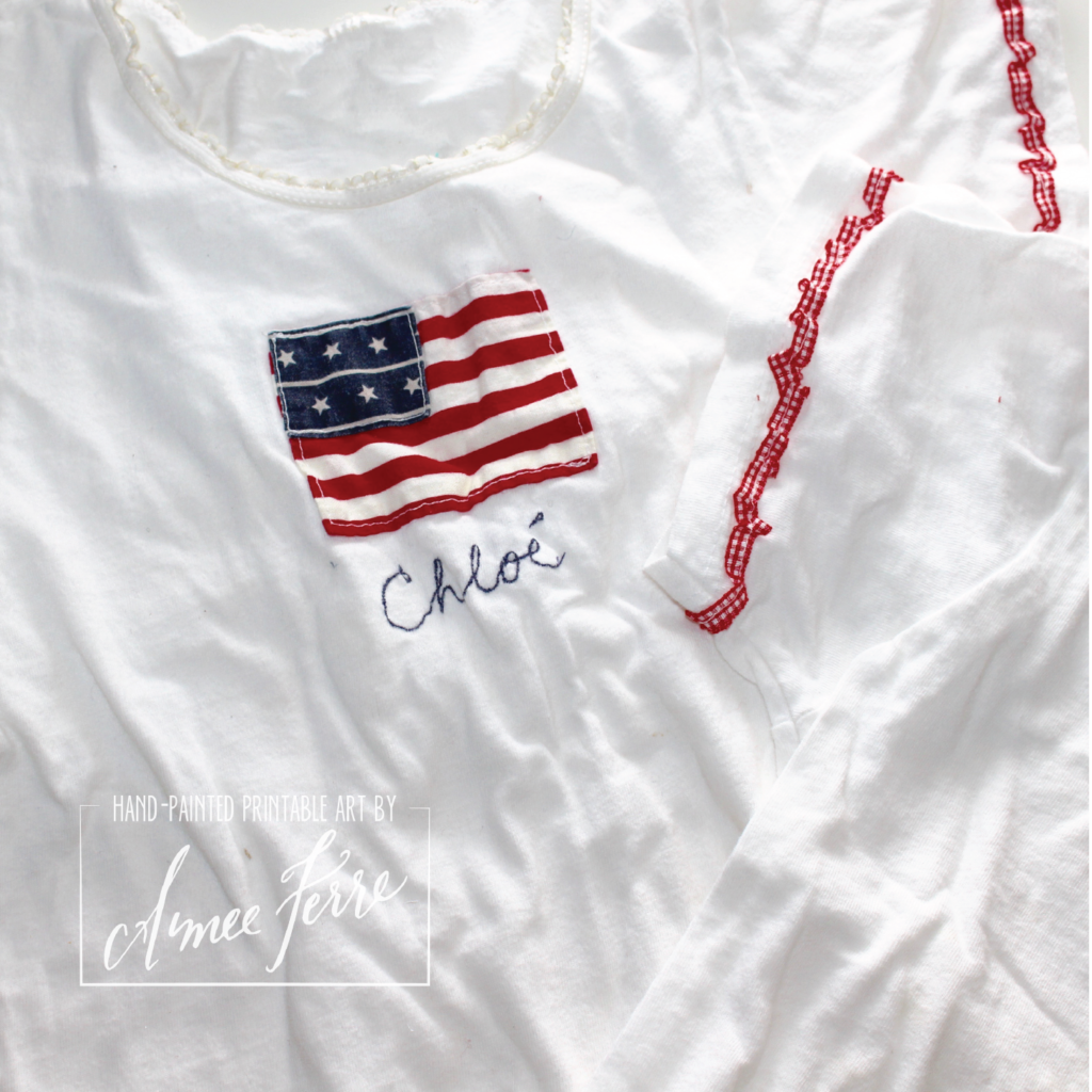 Fourth of July Parade t-shirt Handmade Patriotic Outfit