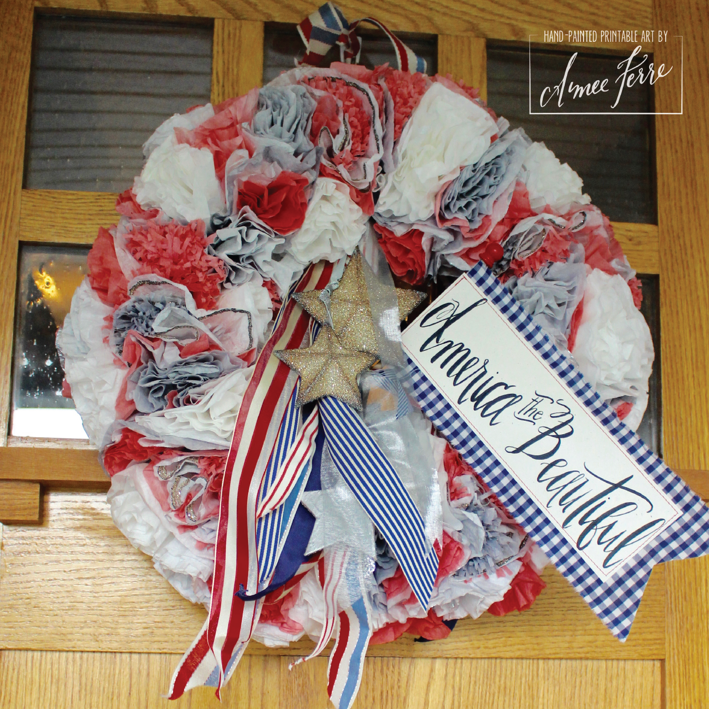 Patriotic Fourth of July Handmade Coffee Filter Wreath
