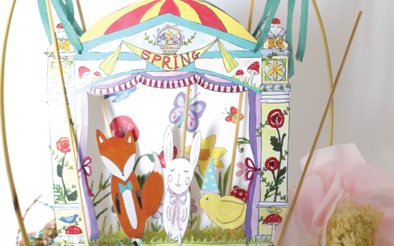Easter Basket Puppet Theater Printable for Child's Imaginative Springtime Play