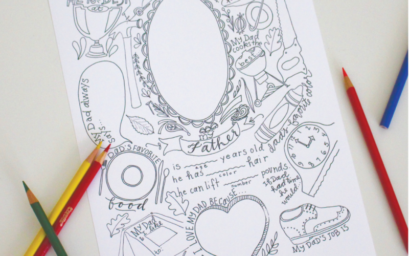 About Dad: A Father's Day Coloring Page with Writing Prompts