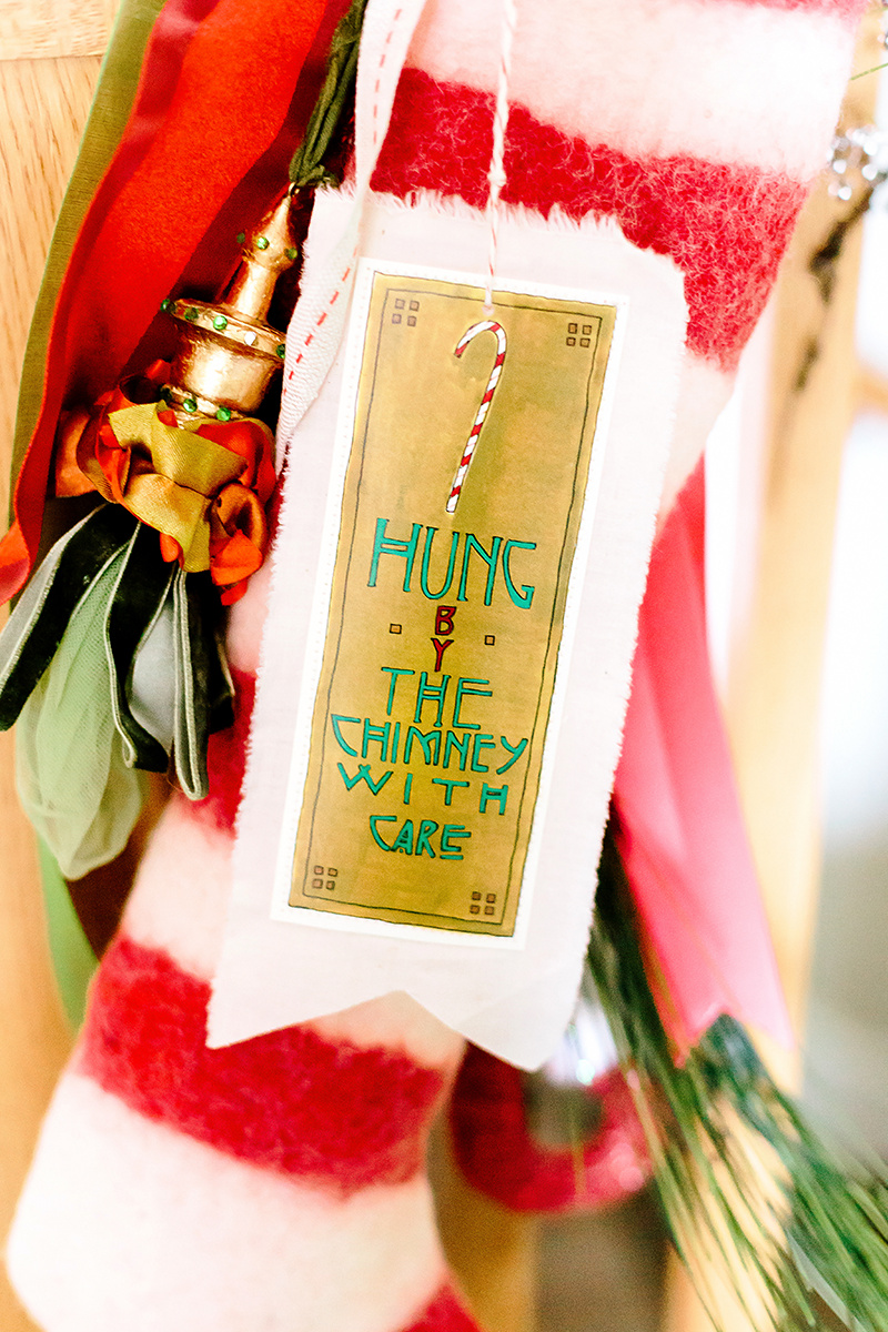 i love this little hung by the chimney with care handmade christmas stocking tag it embraces the arts crafts movement i adore so completely