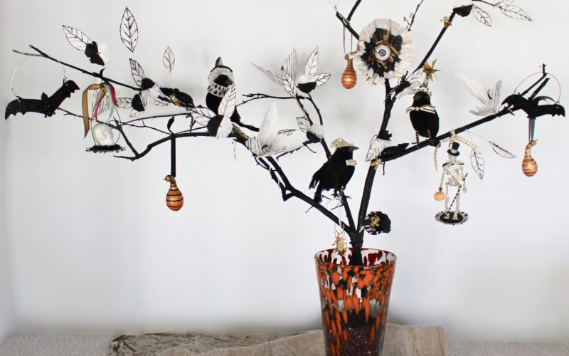 A Spooky Tree Using Dollar Store Halloween Hacks and Paper Flowers